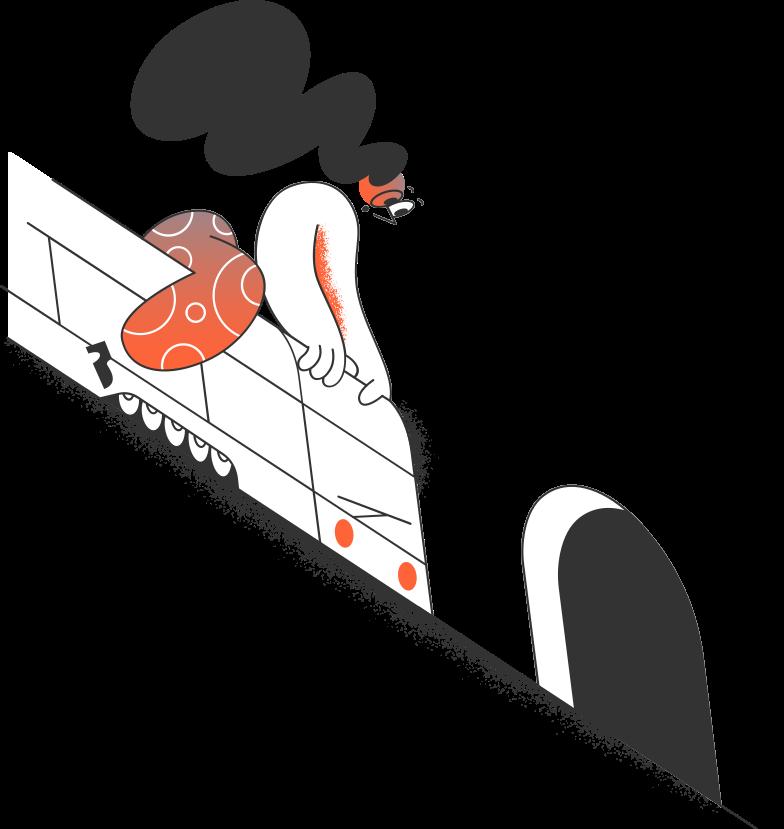 Illustration clipart fille dans le train et le tunnel aux formats PNG, SVG