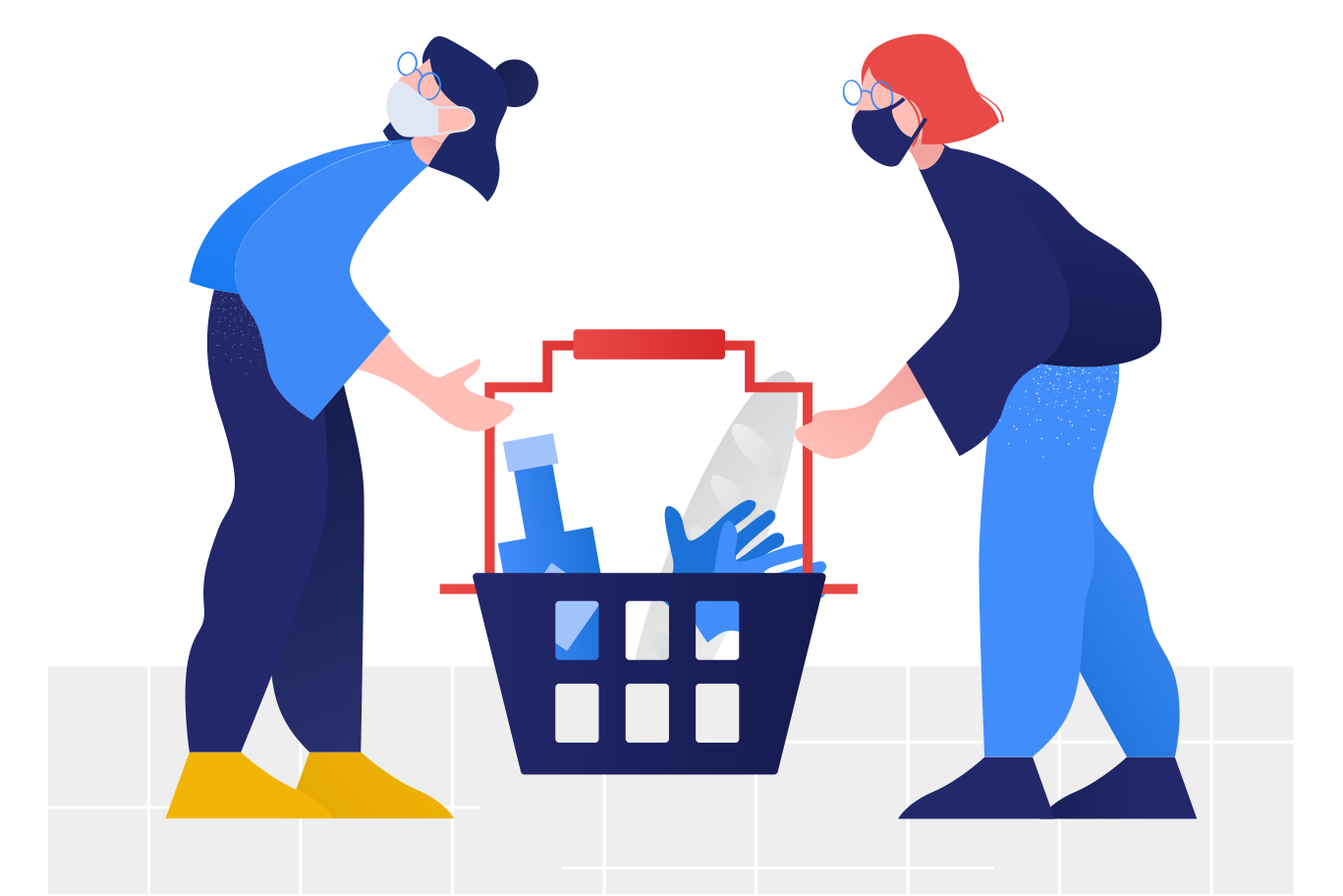 Pandemic shopping  Clipart illustration in PNG, SVG