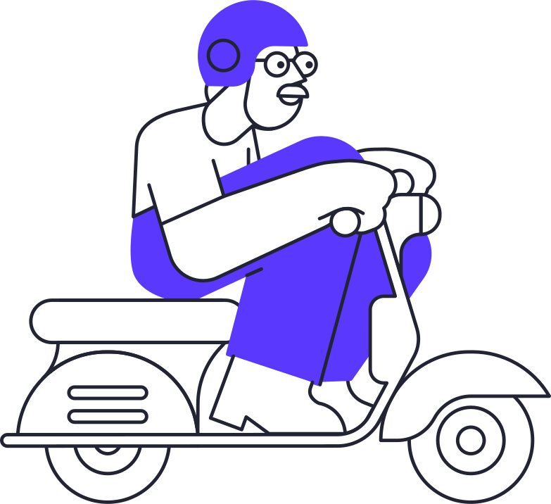 delivery  man on motorcycle Clipart illustration in PNG, SVG