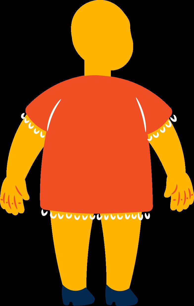 fat girl standing back Clipart illustration in PNG, SVG