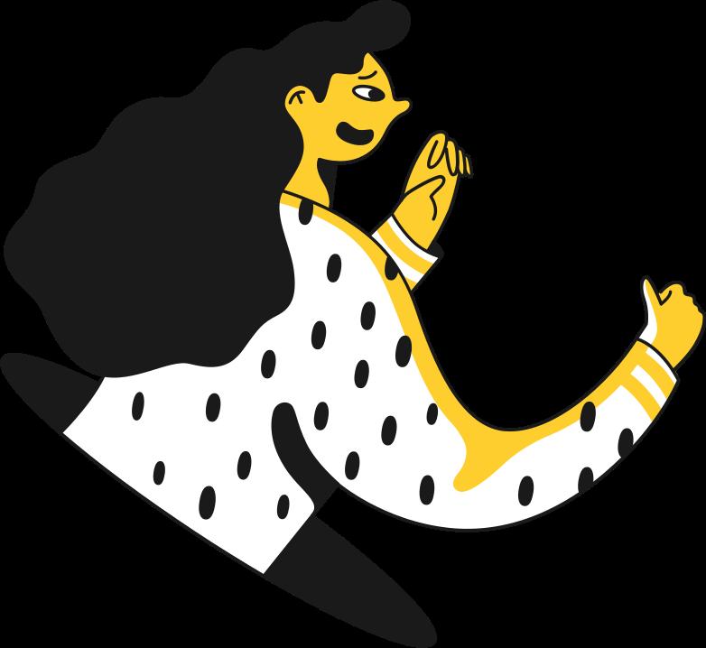 Клипарт Девушка разговаривает с рукой в PNG и SVG