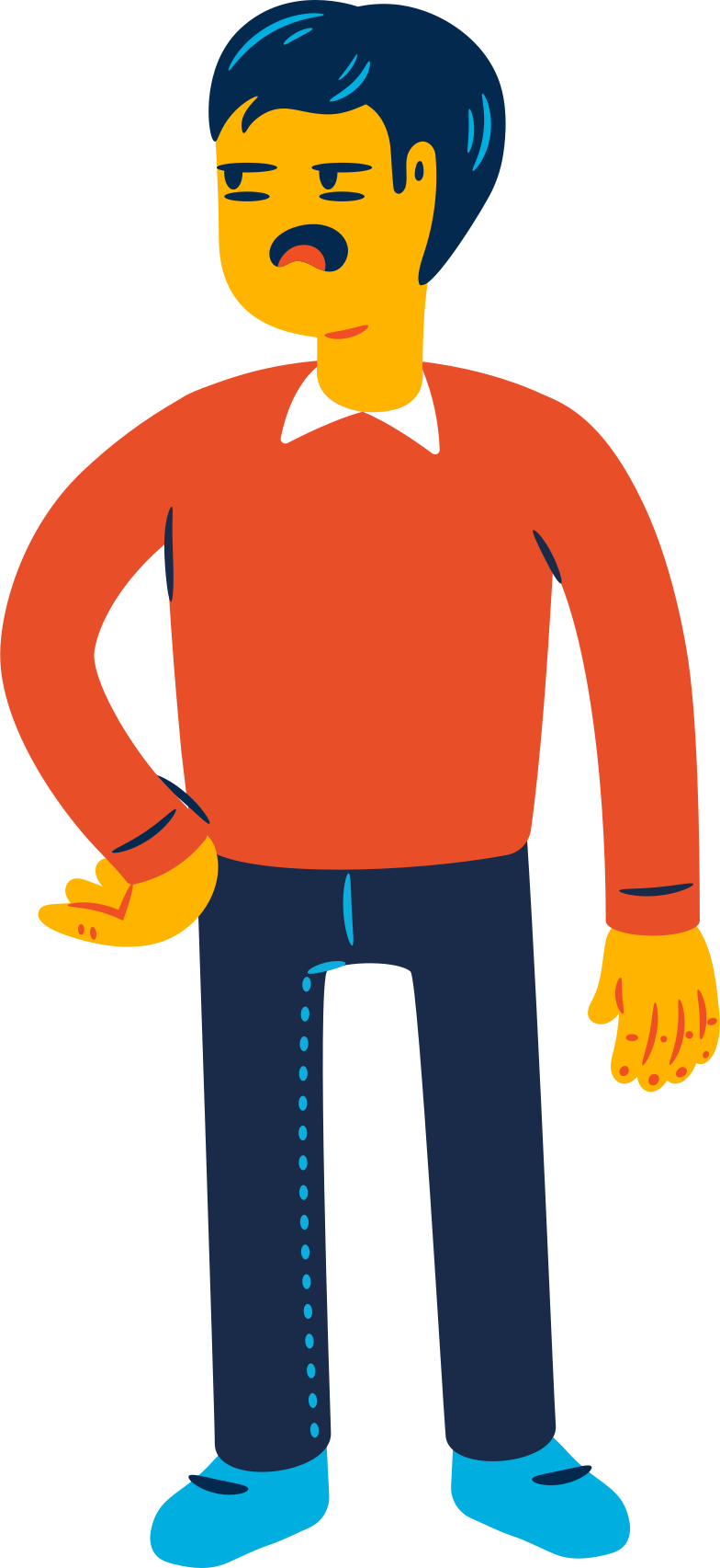 man is boring Clipart illustration in PNG, SVG