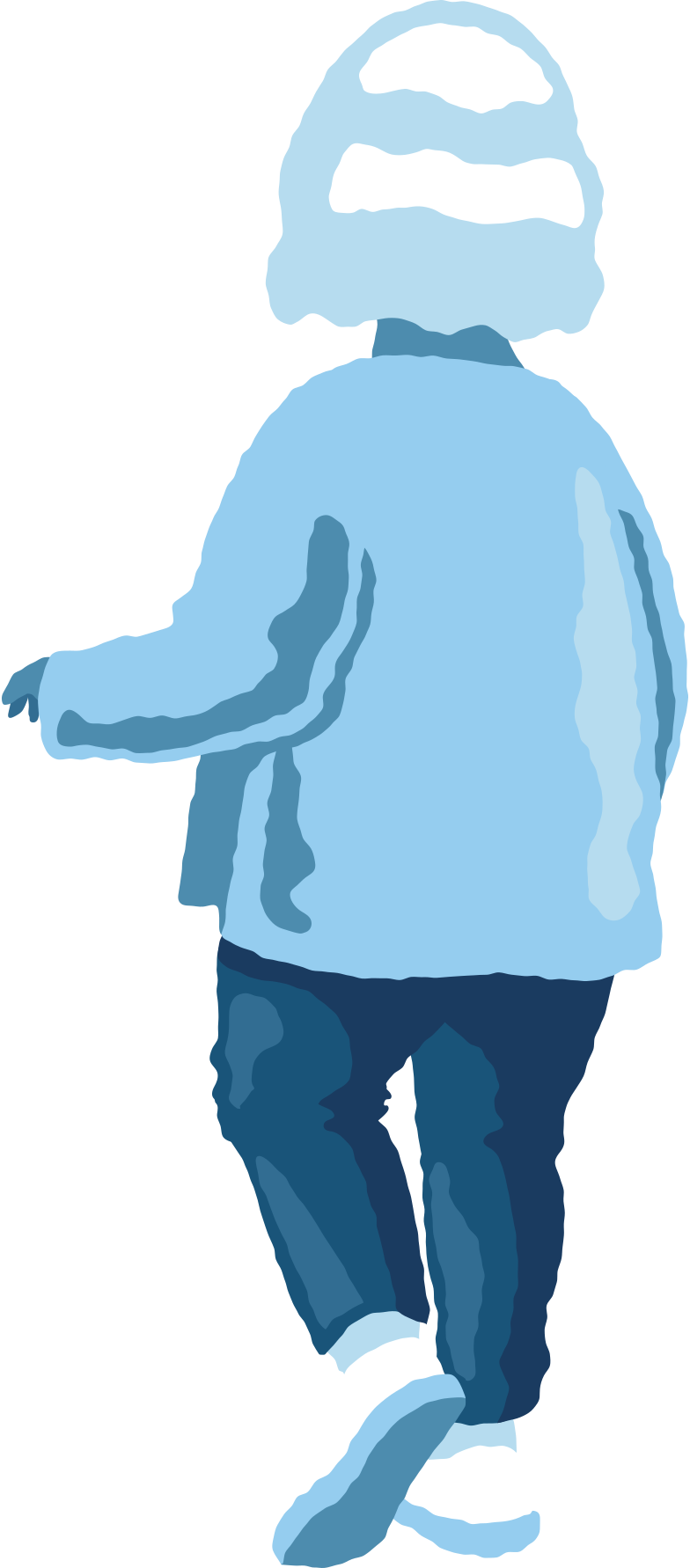 chubby girl standing back Clipart illustration in PNG, SVG