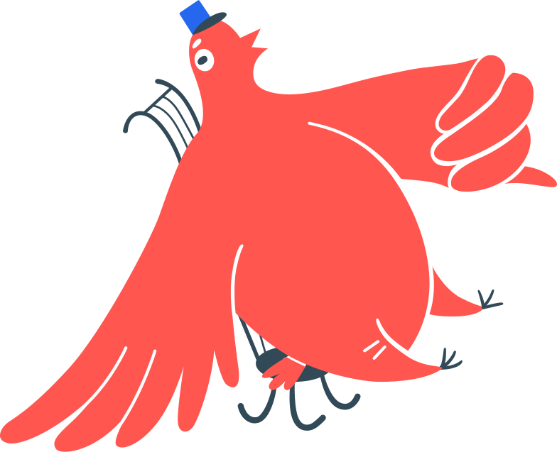 postman bird on chair Clipart illustration in PNG, SVG