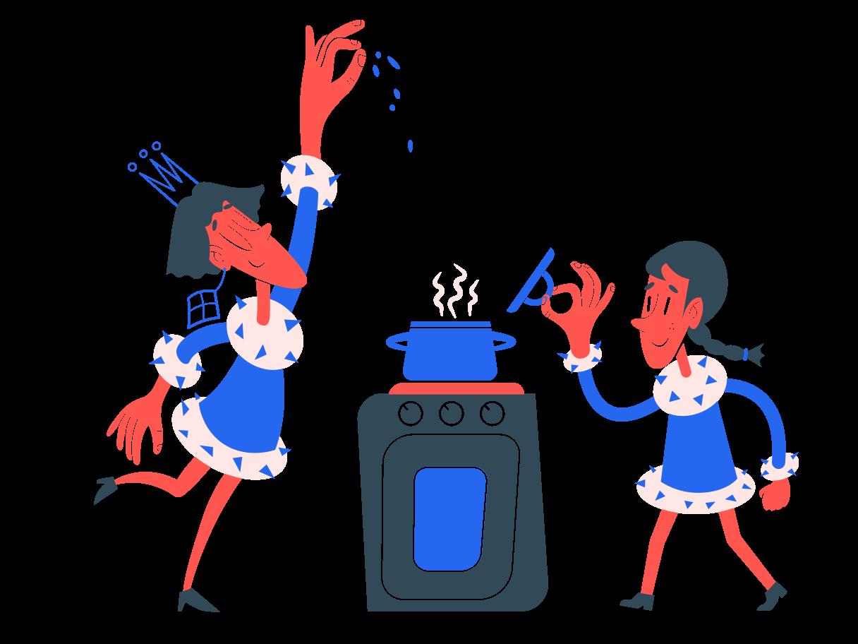 Cooking together  Clipart illustration in PNG, SVG