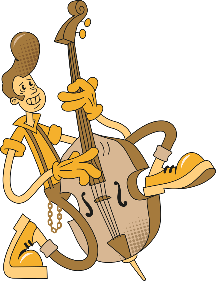 man with a doublebass Clipart illustration in PNG, SVG
