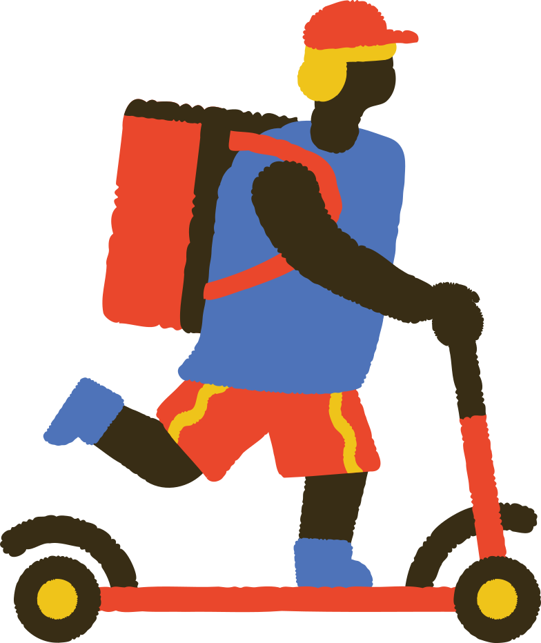 food delivery man on kick scooter Clipart illustration in PNG, SVG
