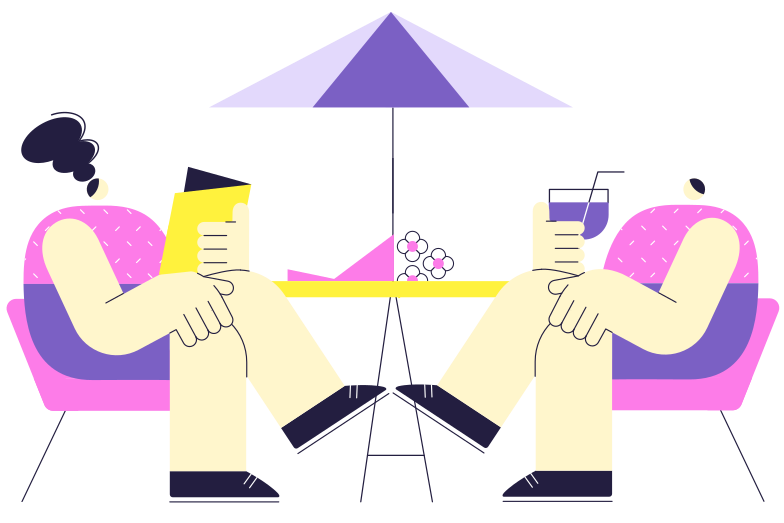 A date in a cafe Clipart illustration in PNG, SVG