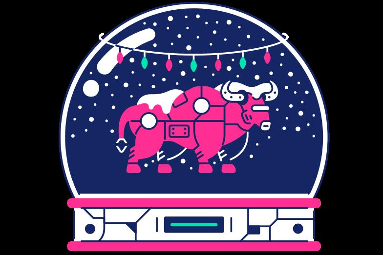 Bull in Snow Globe Clipart illustration in PNG, SVG