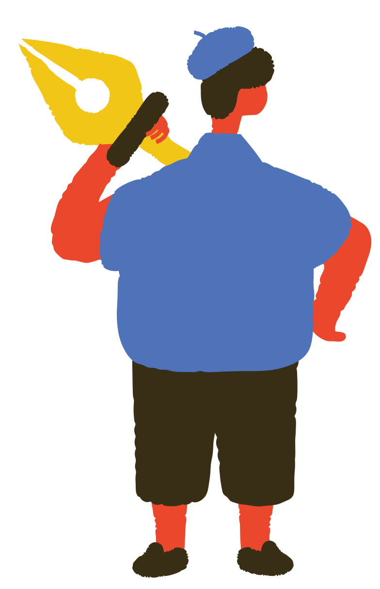 man holding pen tool Clipart illustration in PNG, SVG
