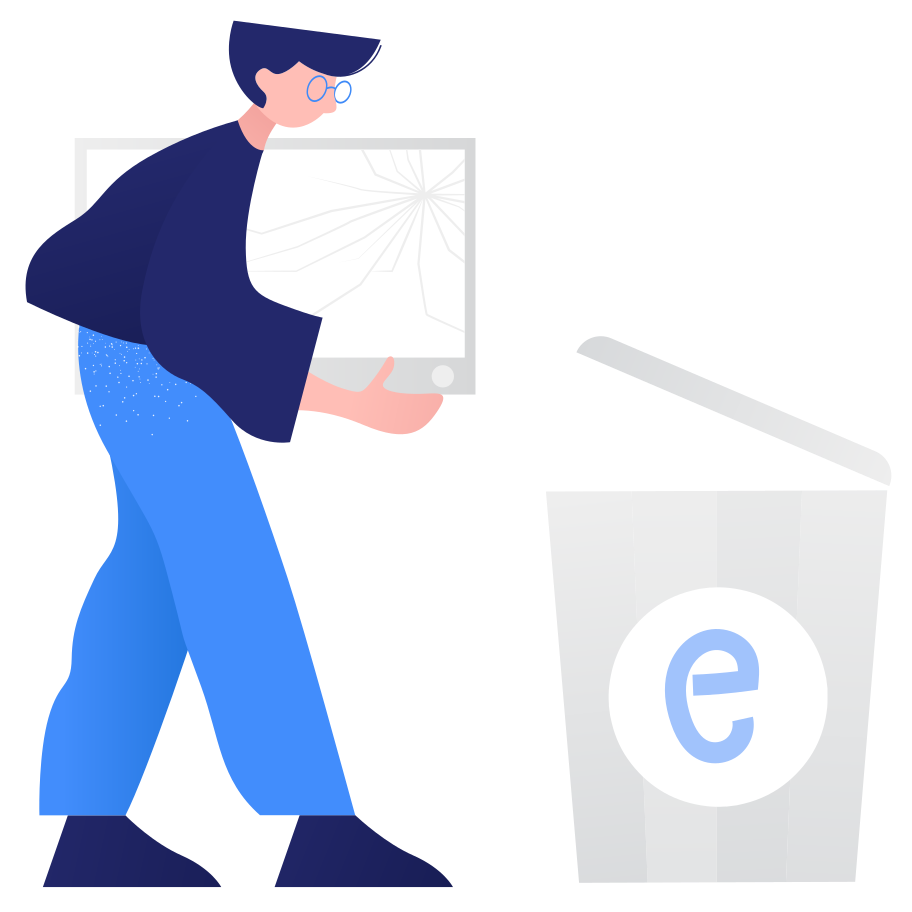 Waste sorting- e-waste Clipart illustration in PNG, SVG
