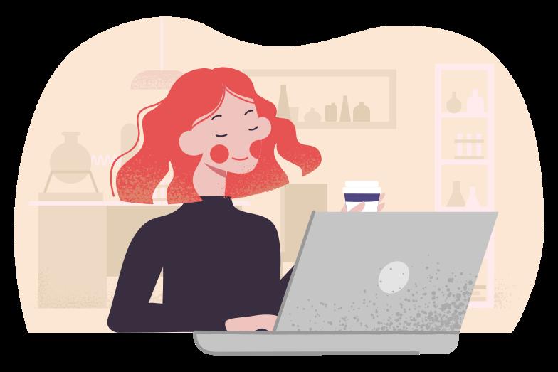 Enjoying remote work Clipart illustration in PNG, SVG