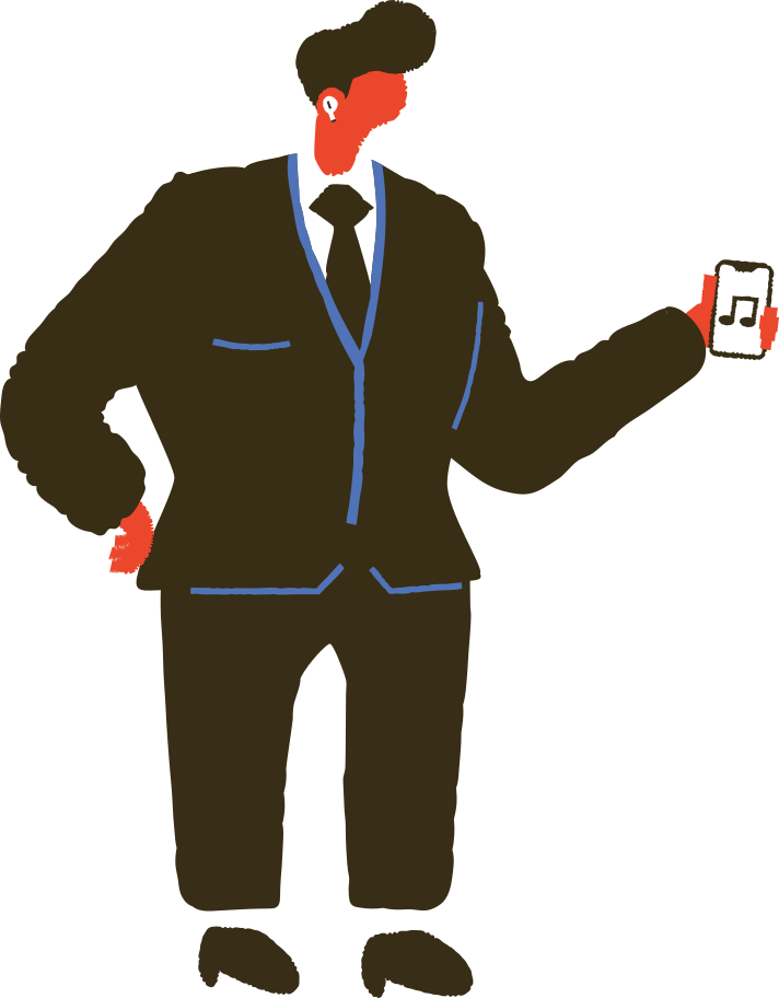 man with airpods Clipart illustration in PNG, SVG