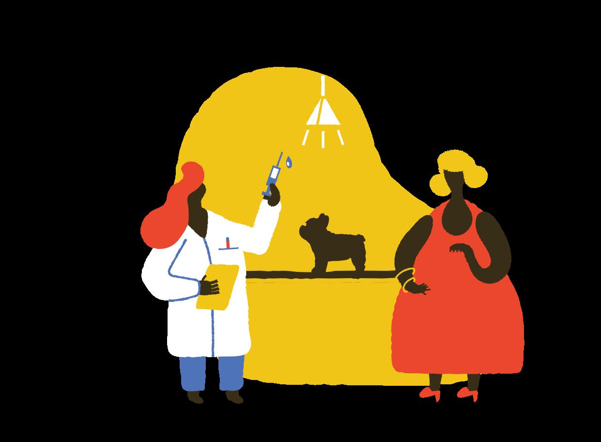 Taking dog to vet Clipart illustration in PNG, SVG