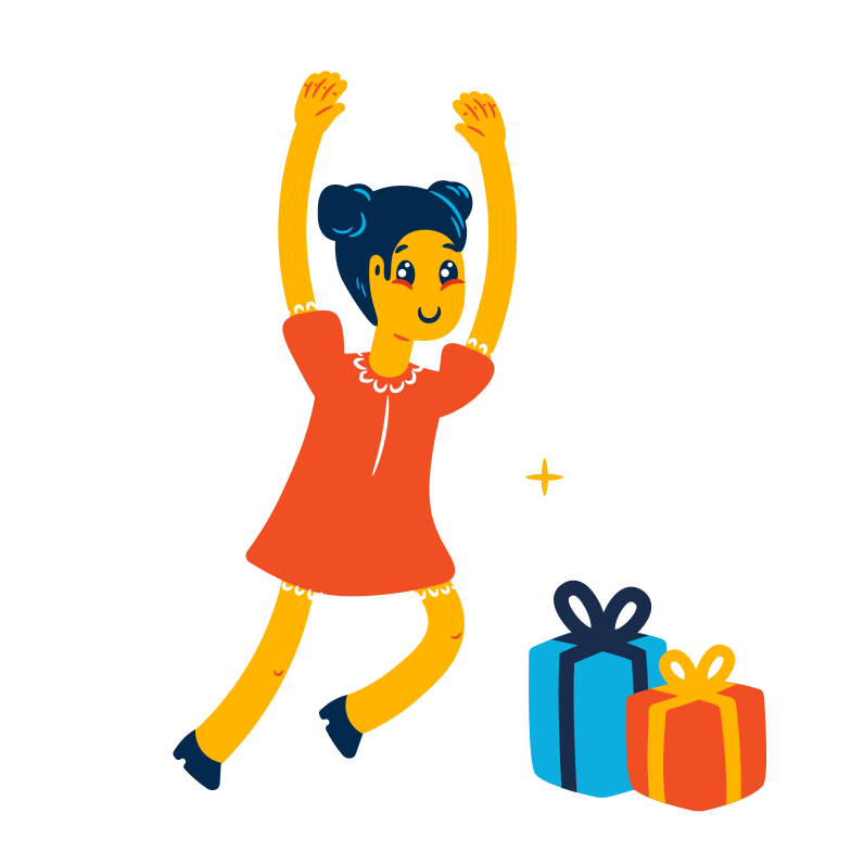 Girl is getting presents Clipart illustration in PNG, SVG