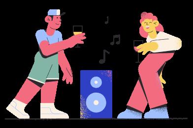 Иллюстрация Люди на вечеринке в стиле  в PNG и SVG | Icons8 Иллюстрации
