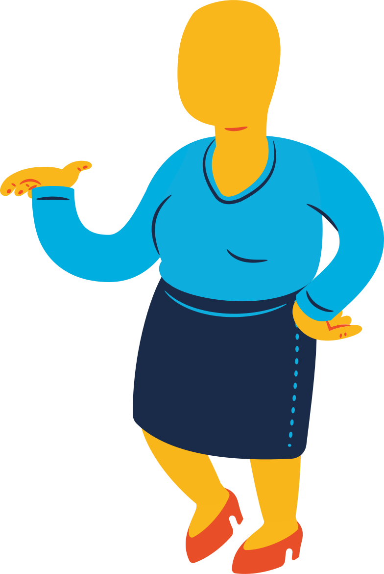 chubby woman standing profile Clipart illustration in PNG, SVG