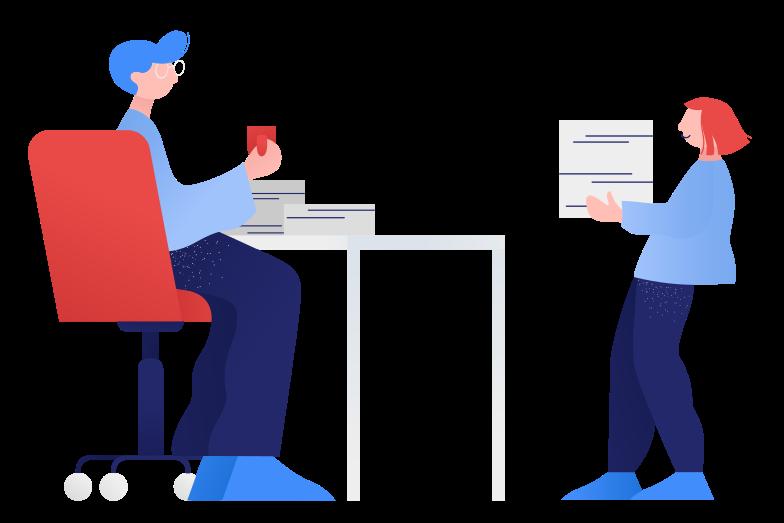 Handing over homework Clipart illustration in PNG, SVG