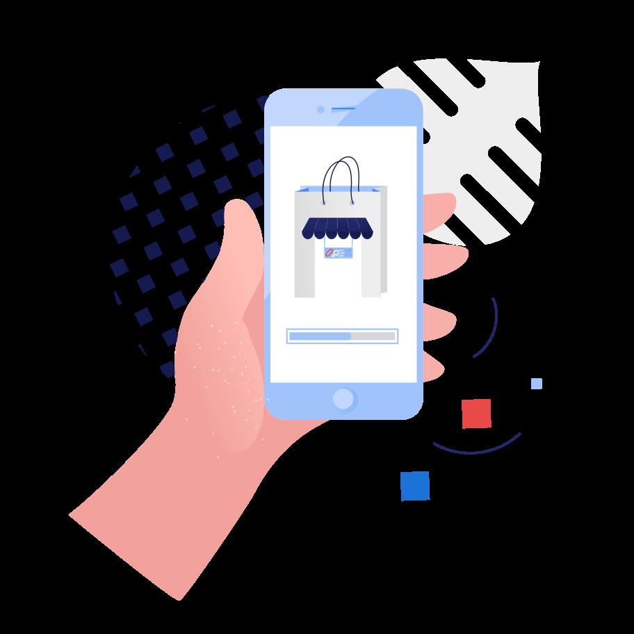Online shopping app Clipart illustration in PNG, SVG