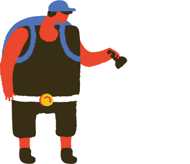 style man with backpack and torch images in PNG and SVG | Icons8 Illustrations