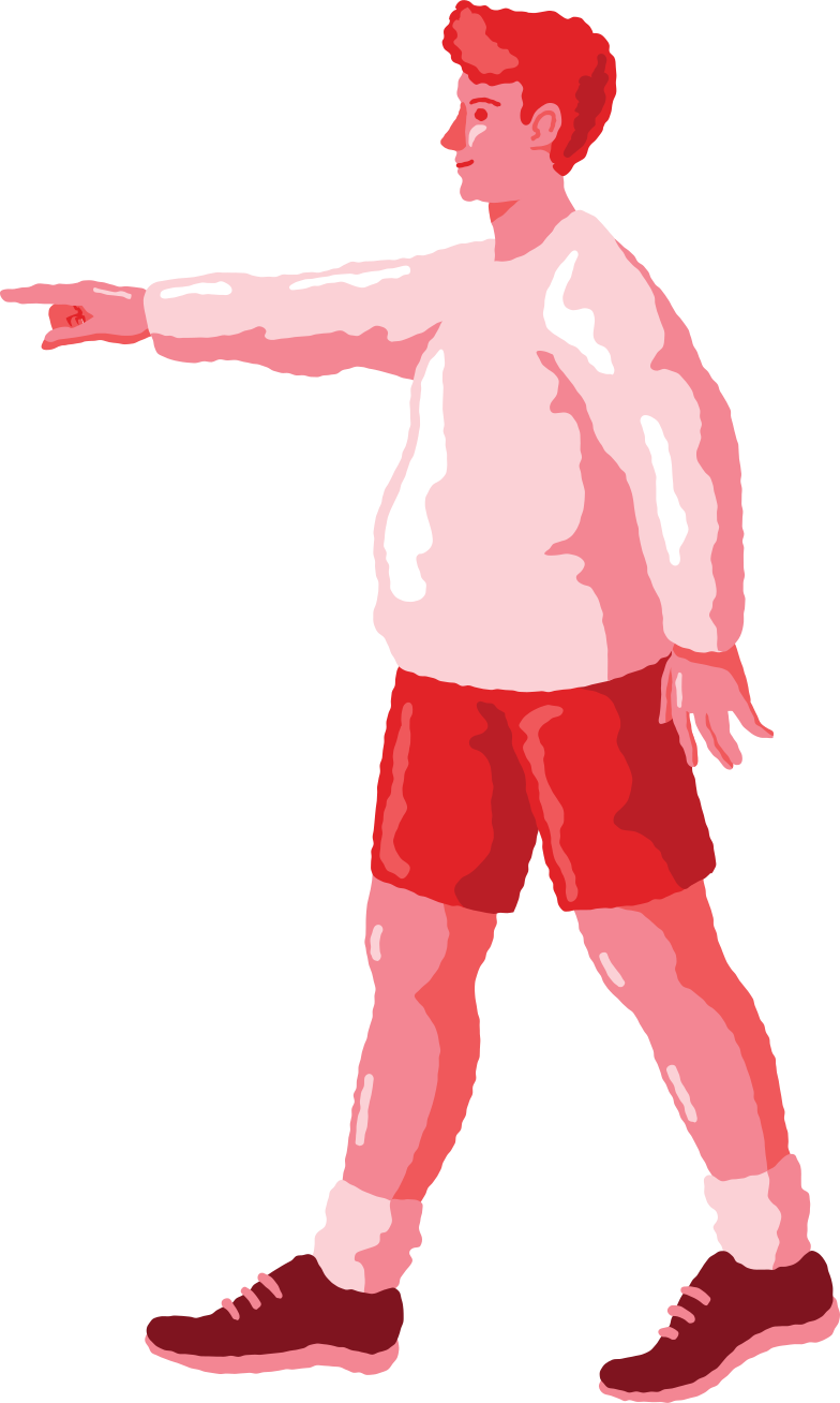 chubby man pointing profile Clipart illustration in PNG, SVG