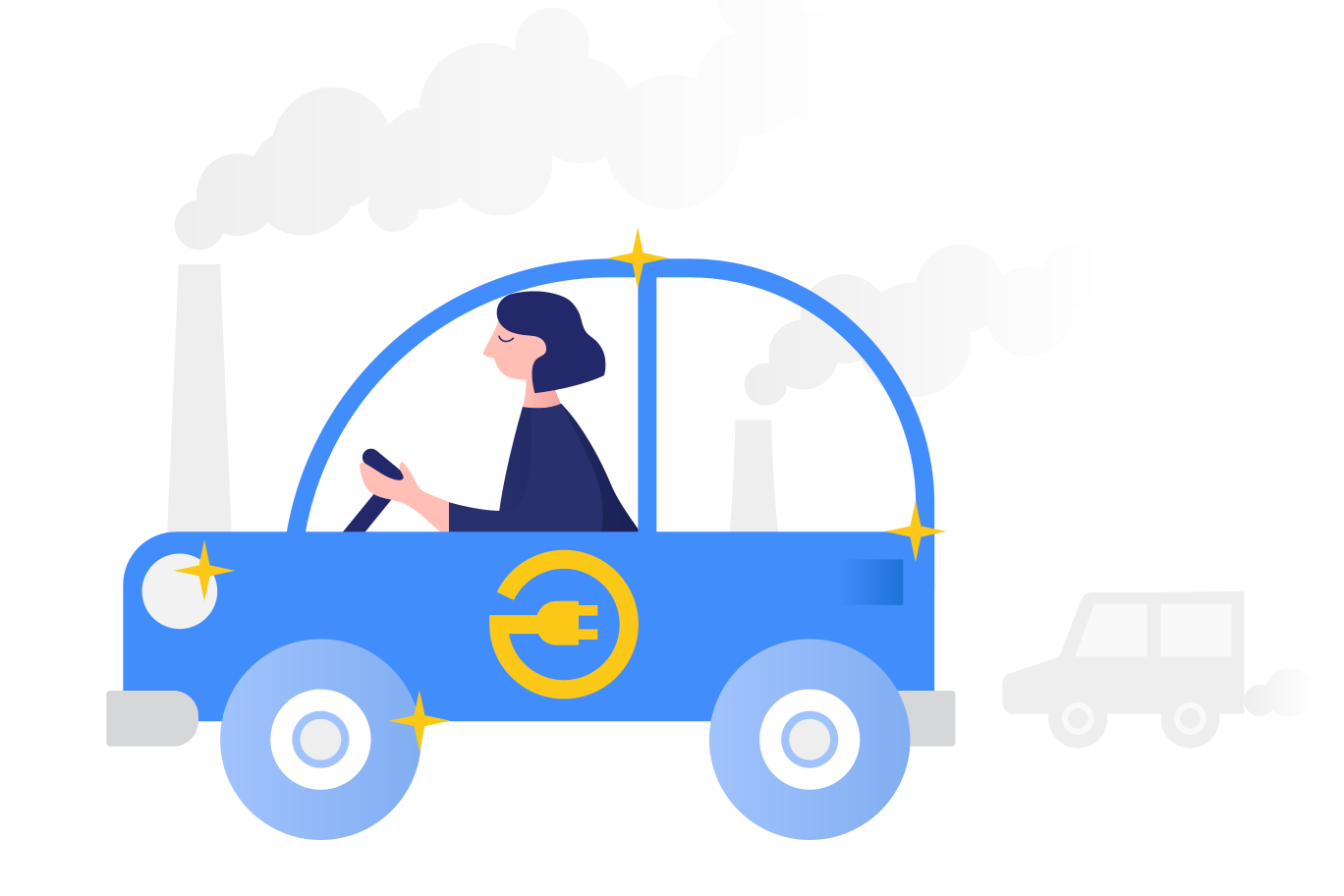 Electric car Clipart illustration in PNG, SVG
