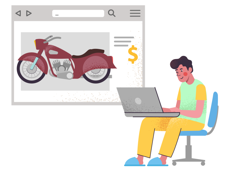 style Buy a motorcycle on the internet Vector images in PNG and SVG | Icons8 Illustrations