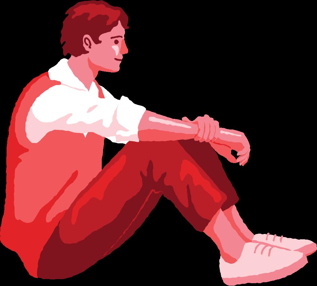 man sitting profile Clipart illustration in PNG, SVG