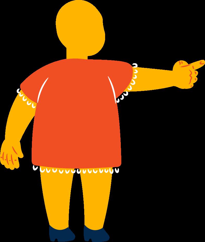 fat girl points back Clipart illustration in PNG, SVG