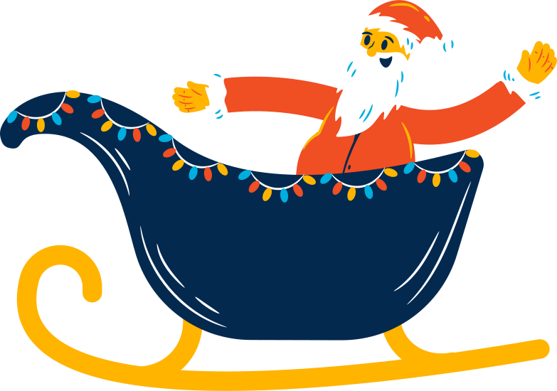 sleigh with santa claus Clipart illustration in PNG, SVG