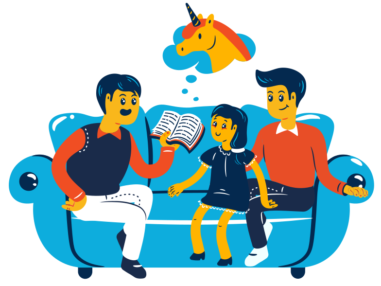 Family reading Clipart illustration in PNG, SVG
