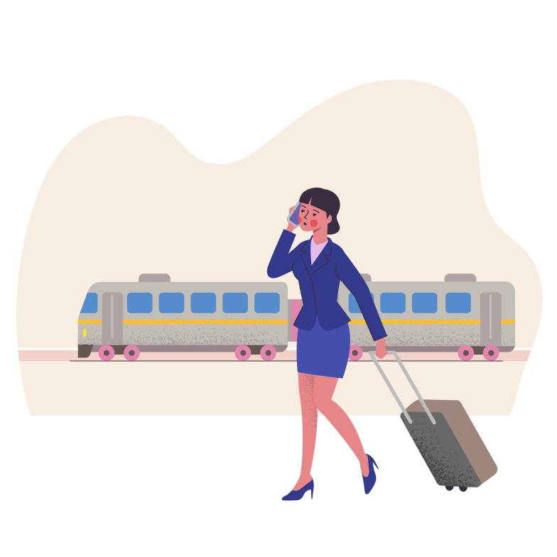 Travel by train Clipart illustration in PNG, SVG