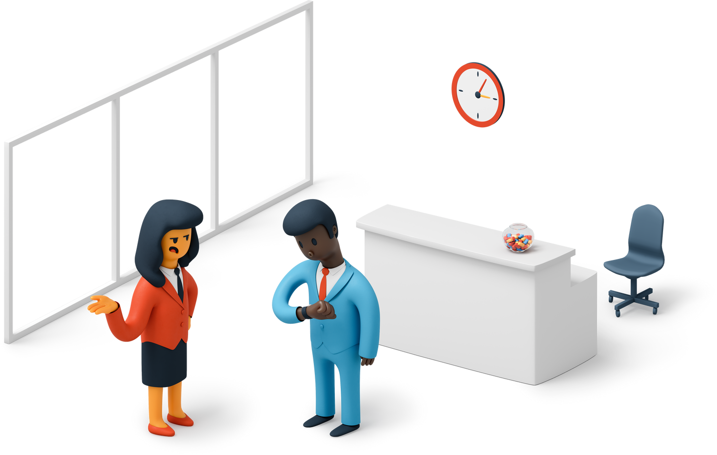 Office workers waiting Clipart illustration in PNG, SVG