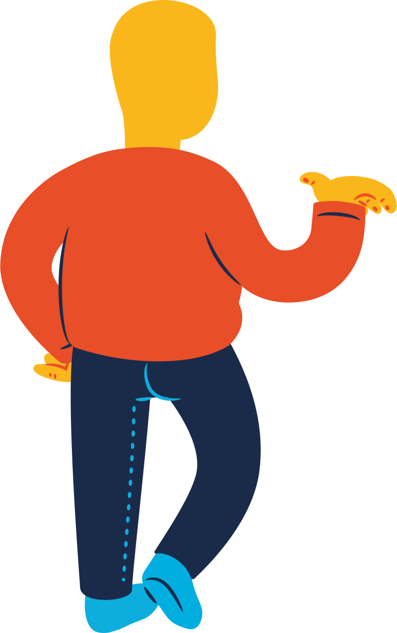 chubby man standing back profile Clipart illustration in PNG, SVG