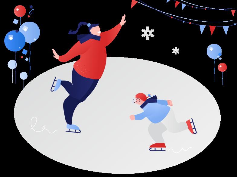 스타일 얼음 위에서 스케이트 타기 PNG 및 SVG 형식의 벡터 이미지 | Icons8 일러스트레이션