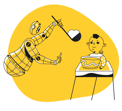 style Robot feeding a child images in PNG and SVG | Icons8 Illustrations