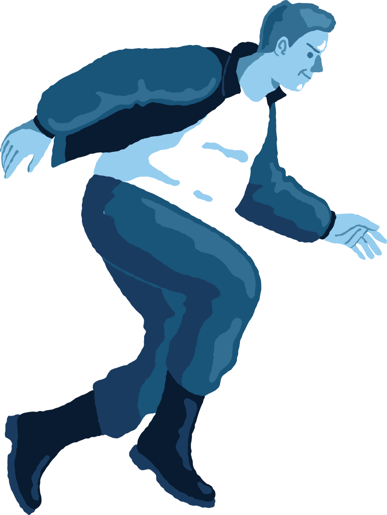 chubby man jumping profile Clipart illustration in PNG, SVG