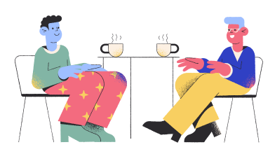 style Friends meeting at the coffee shop images in PNG and SVG | Icons8 Illustrations