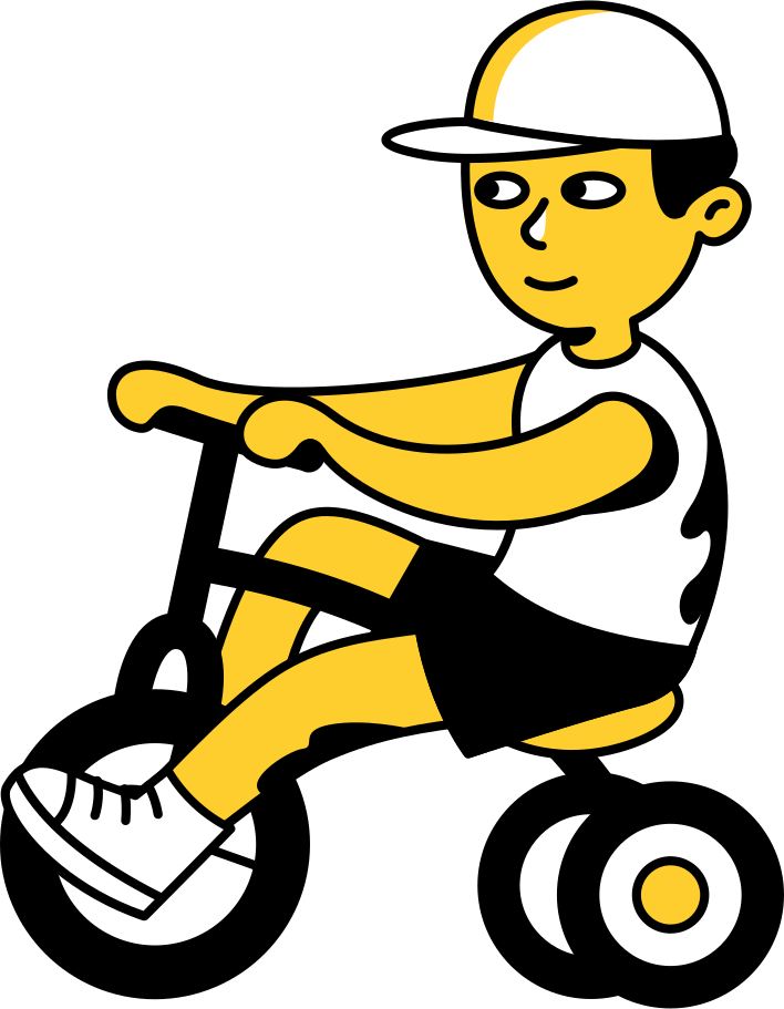 Illustration clipart Aire de jeux enfant à vélo aux formats PNG, SVG