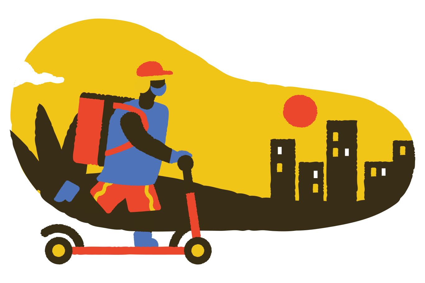 Delivery guy in a hurry Clipart illustration in PNG, SVG