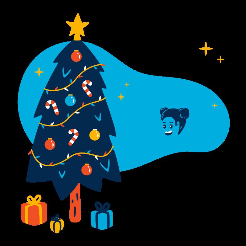 Child enjoying Christmas Clipart illustration in PNG, SVG