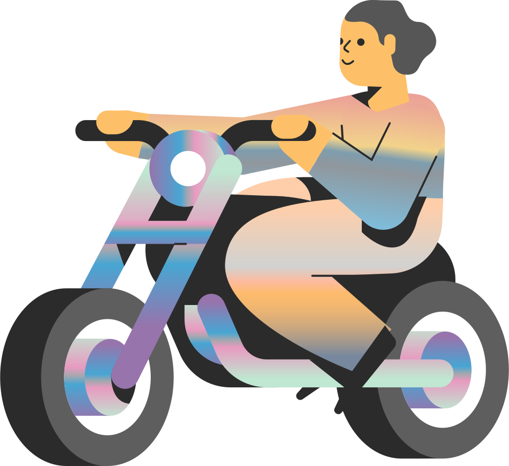 motorcycle girl Clipart illustration in PNG, SVG