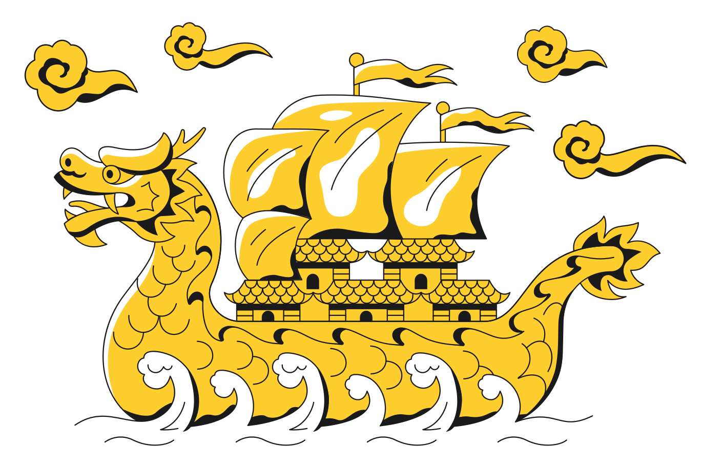 Chinese sailboat Clipart illustration in PNG, SVG