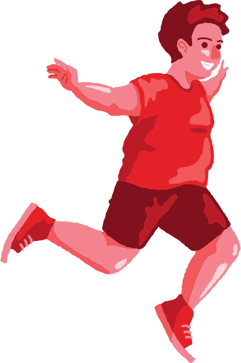chubby boy jumping profile Clipart illustration in PNG, SVG
