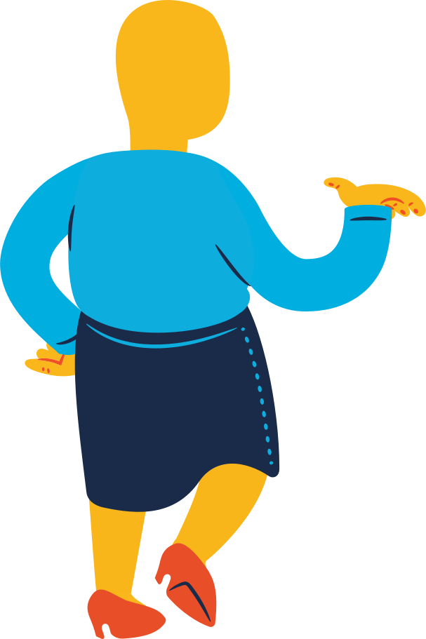 chubby woman standing back profile Clipart illustration in PNG, SVG
