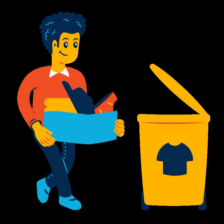 Textile waste sorting Clipart illustration in PNG, SVG