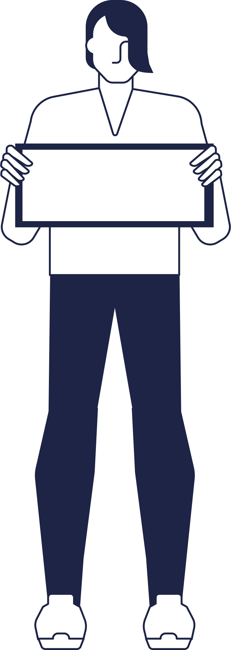 welcome!  man holding sign line Clipart illustration in PNG, SVG