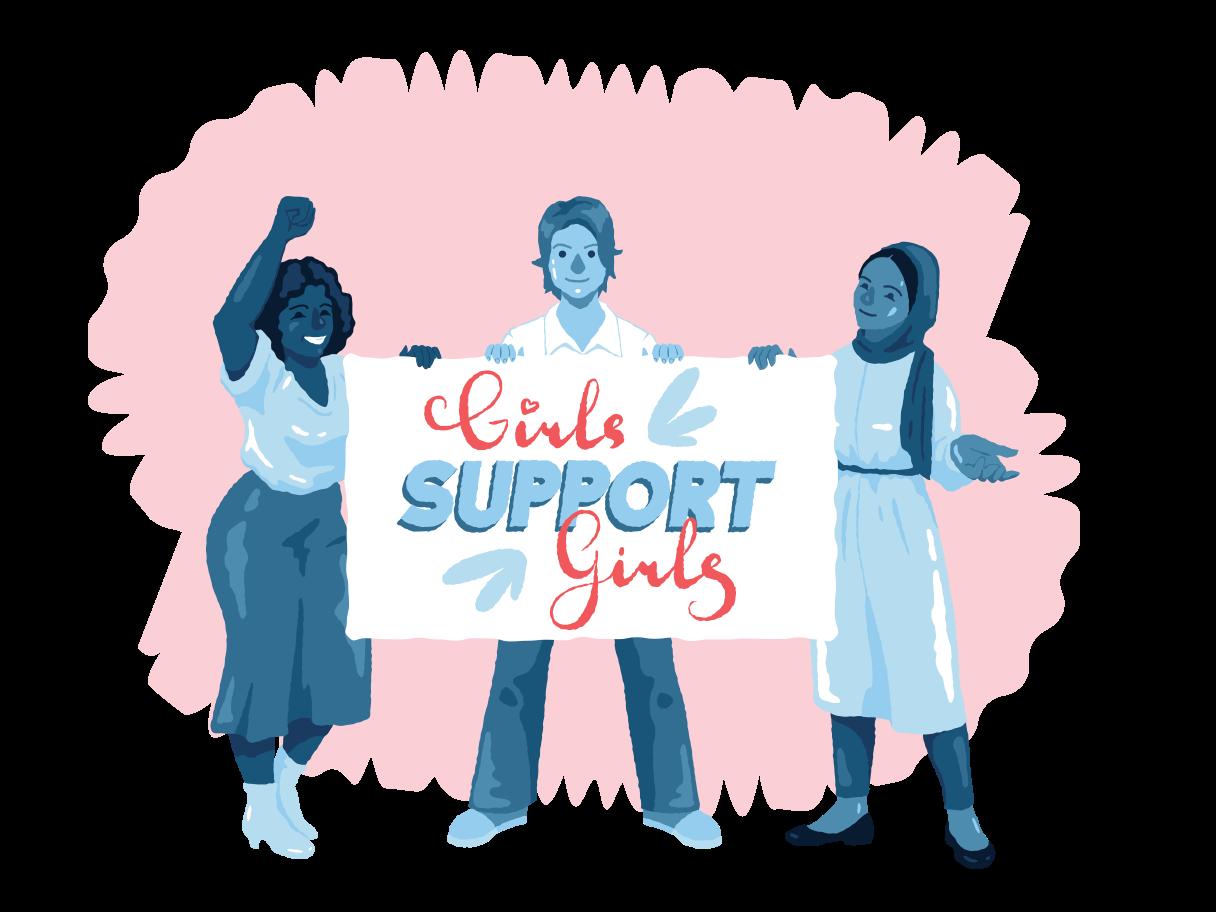 Ilustración de clipart de Las niñas apoyan a las niñas en PNG, SVG