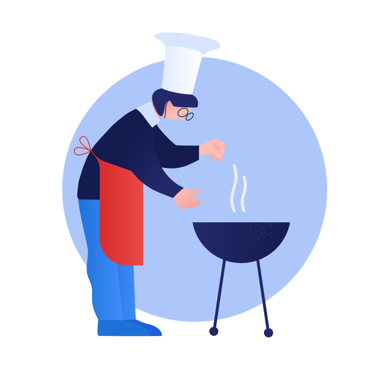 Cooking with bbq Clipart illustration in PNG, SVG