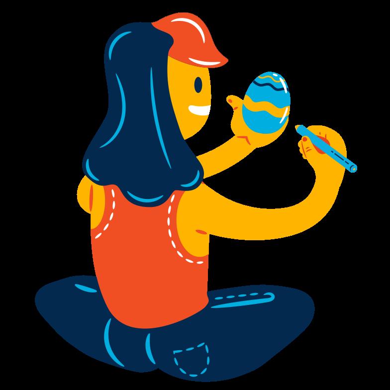 Easter egg painting Clipart illustration in PNG, SVG
